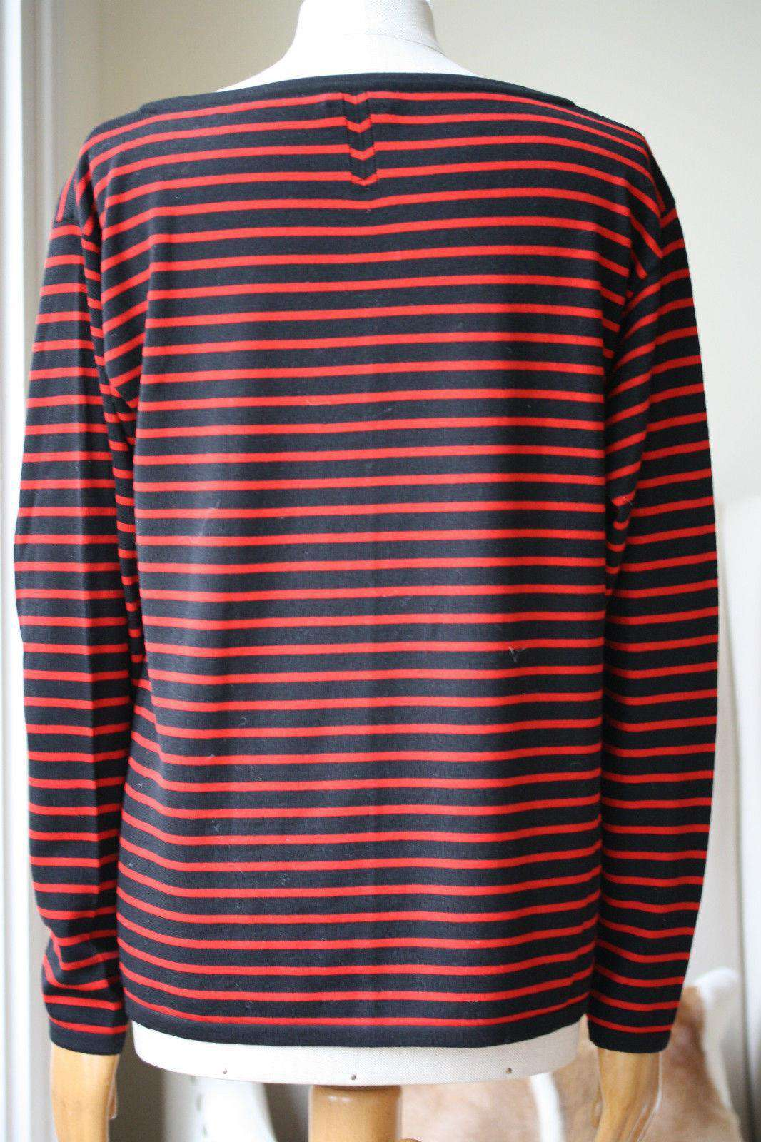 SAINT LAURENT BRETON STRIPE FINE KNIT SILK TOP MEDIUM