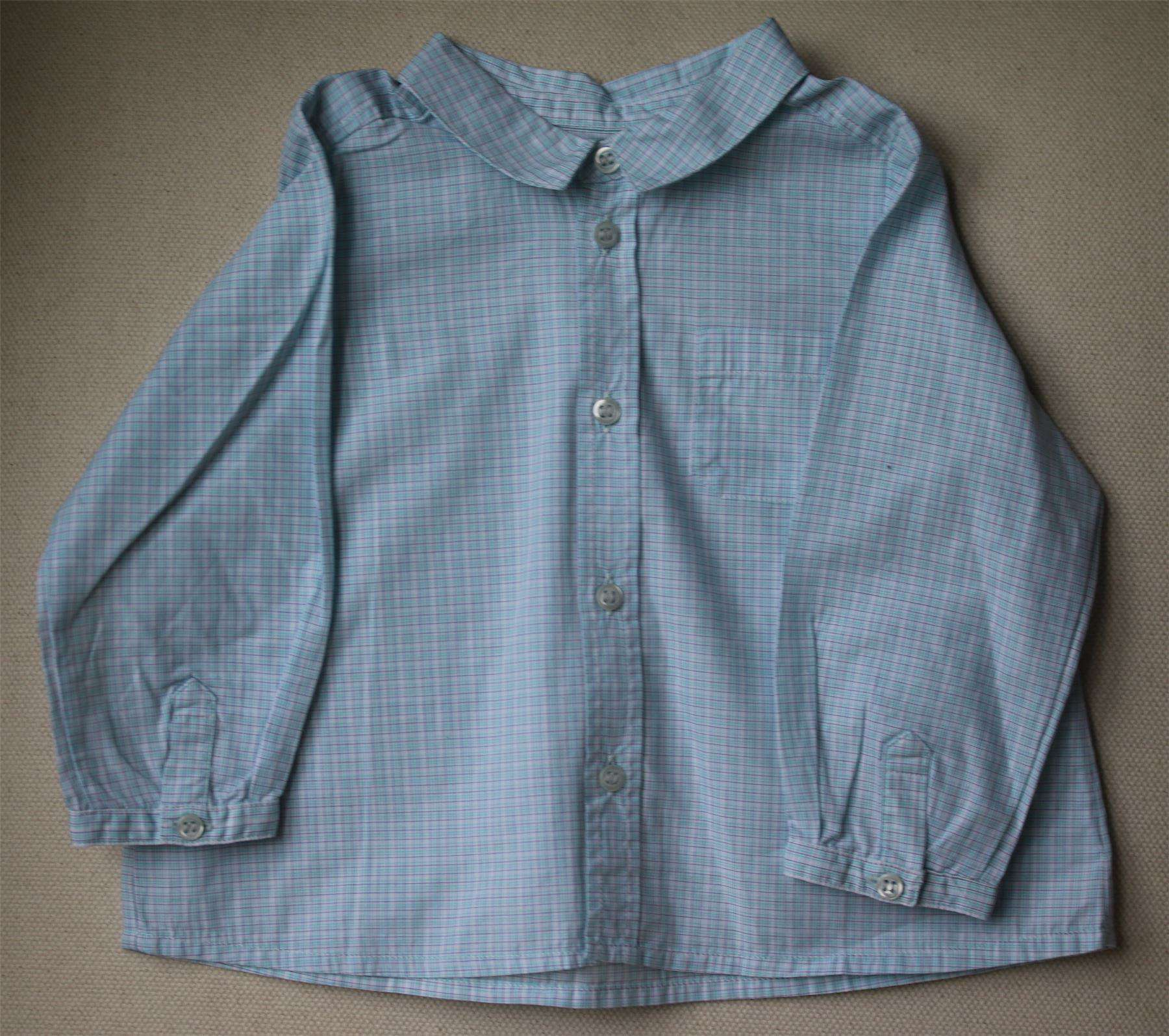 BONPOINT BABY BLUE & WHITE CHECK SHIRT 12 MONTHS