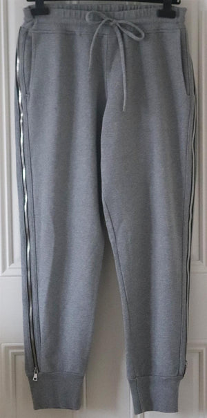 RTA AUGUSTINE ZIP DETAILED COTTON TERRY TRACK PANTS LARGE
