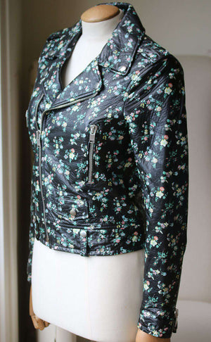 SAINT LAURENT CLASSIC L01 FLORAL PRINTED LEATHER JACKET FR 34 UK 6