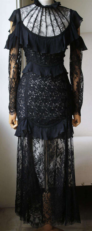 ALESSANDRA RICH CUTOUT RUFFLED CHANTILLY LACE GOWN IT 40 UK 8