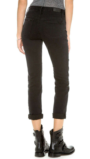 RTA BLACK DESTROYED SKINNY BOYFRIEND JEANS W25 UK 6/8