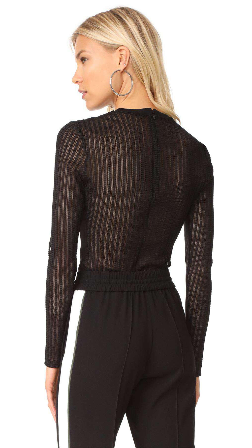 CINQ A SEPT PAIGE STRIPED MESH BODYSUIT SMALL
