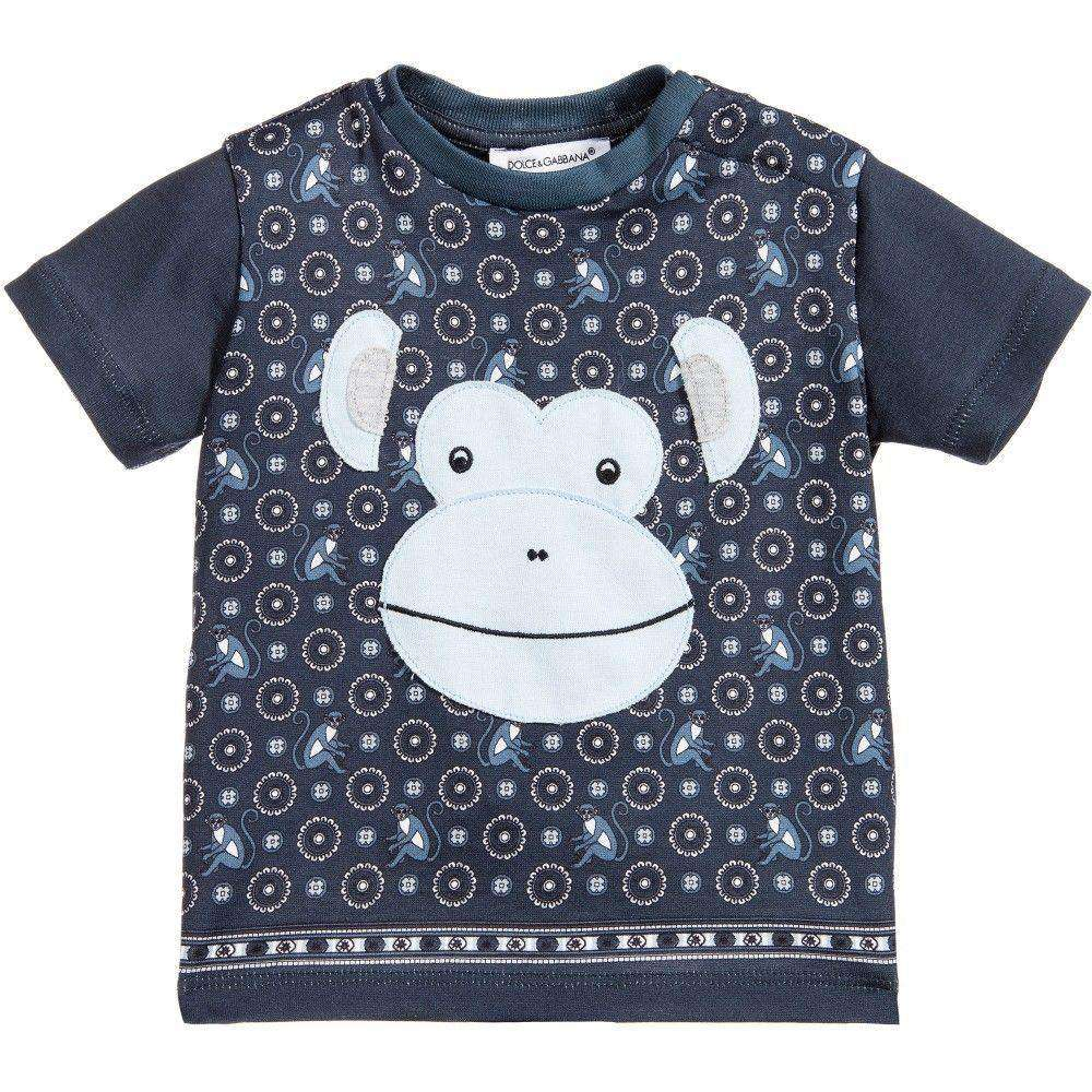 DOLCE AND GABBANA BABY BLUE MONKEY TOP 9-12 MONTHS