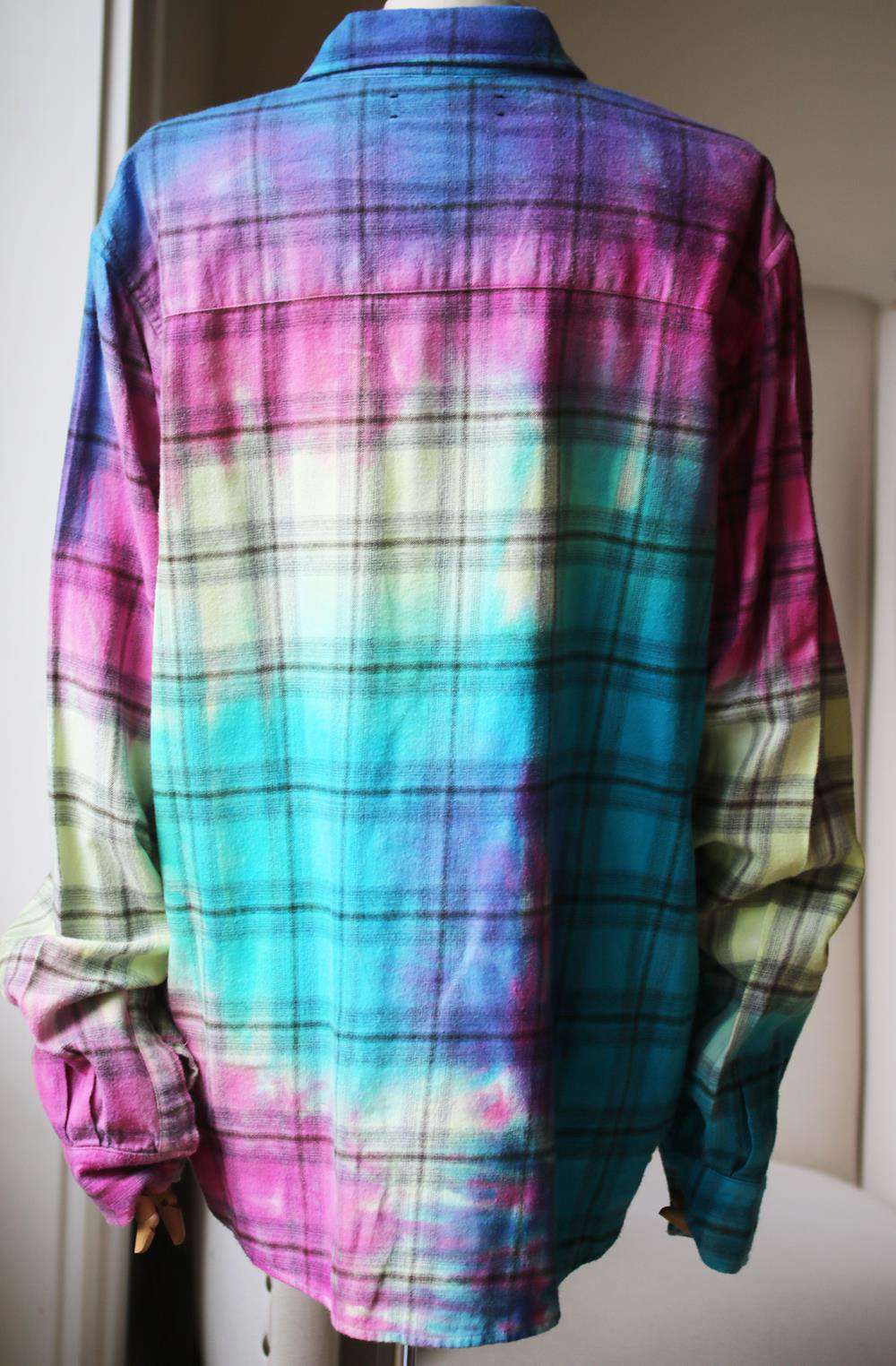 AMIRI TIE DYED PLAID COTTON FLANNEL SHIRT LARGE