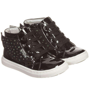STEP2WO GIRLS BLACK PATENT LEATHER ANGEL TRAINERS WITH GEMS & WINGS EU 23 UK 6