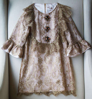 BLEU COMME GRIS KIDS GIRLS CRYSTAL EMBELLISHED LACE DRESS 6 YEARS