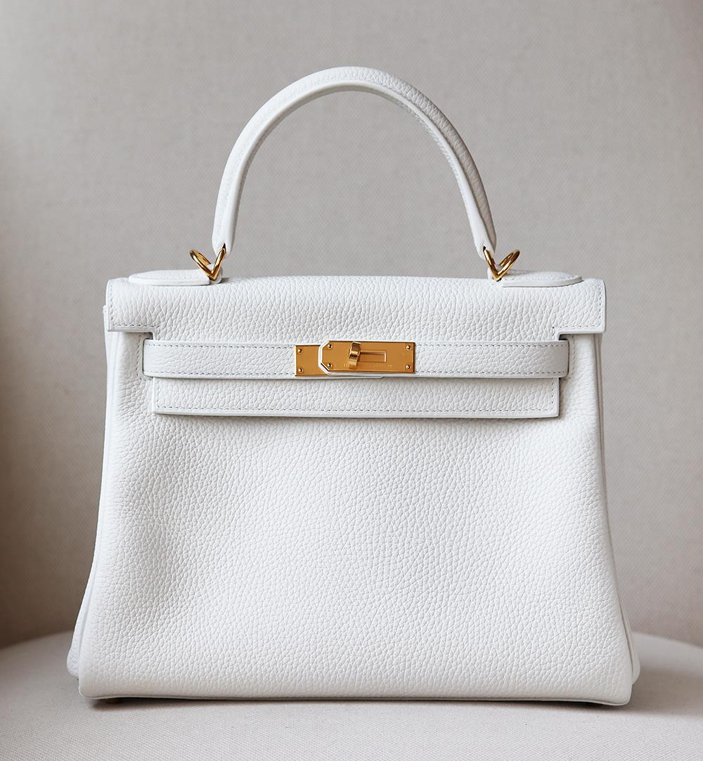 HERMÈS KELLY RETOURNE 28CM CLEMENCE GOLD PLATED H/W BAG