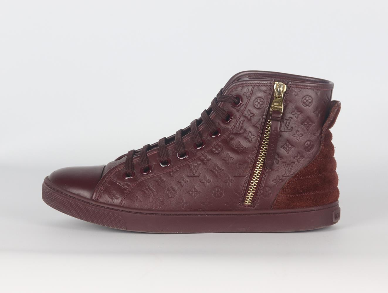 LOUIS VUITTON PUNCHY LOGO EMBOSSED LEATHER AND SUEDE SNEAKERS EU 38 UK 5 US 8