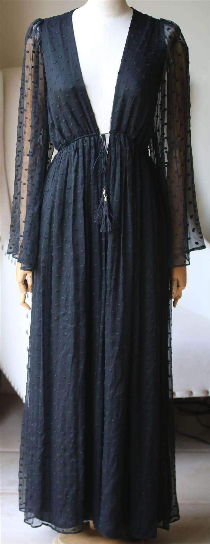 ZIMMERMANN GOSSAMER EMBROIDERED SILK GEORGETTE JUMPSUIT UK 14