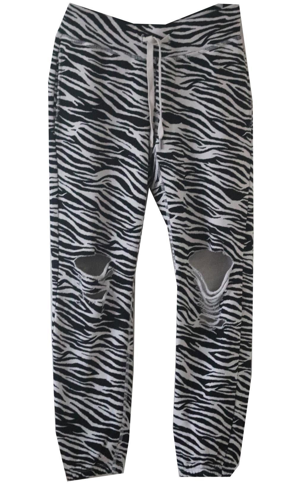 NSF ZEBRA PRINT COTTON TERRY TRACK PANTS SMALL