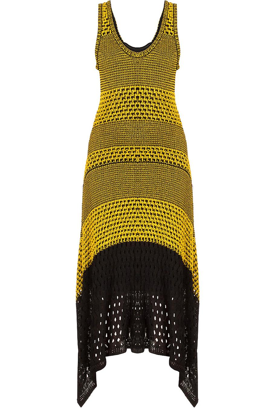 PROENZA SCHOULER ASYMMETRIC CROCHET KNIT MIDI DRESS SMALL