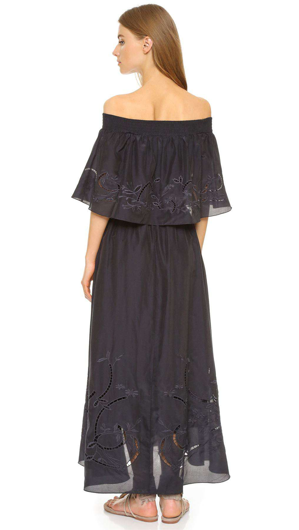 TIBI OFF-THE-SHOULDER EMBROIDERED COTTON AND SILK-BLEND MAXI DRESS SMALL