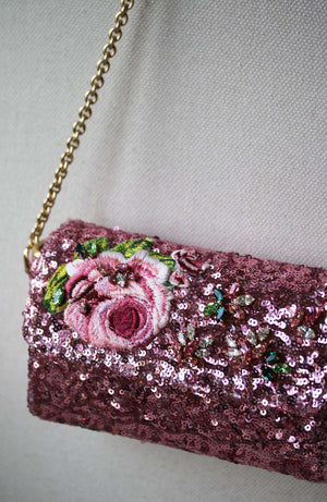 DOLCE AND GABBANA KIDS GIRLS SEQUIN AND ROSE CROSSBODY BAG