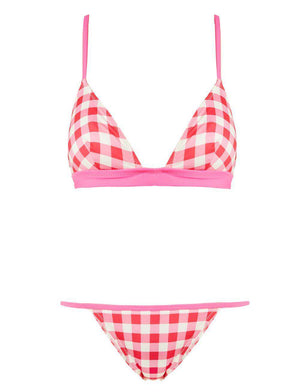 SOLID AND STRIPED MORGAN GINGHAM TRIANGLE BIKINI SMALL