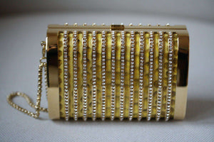 STARK AT HARRODS SEDUCTRESS GOLD YELLOW PYTHON CRYSTAL BOX CLUTCH