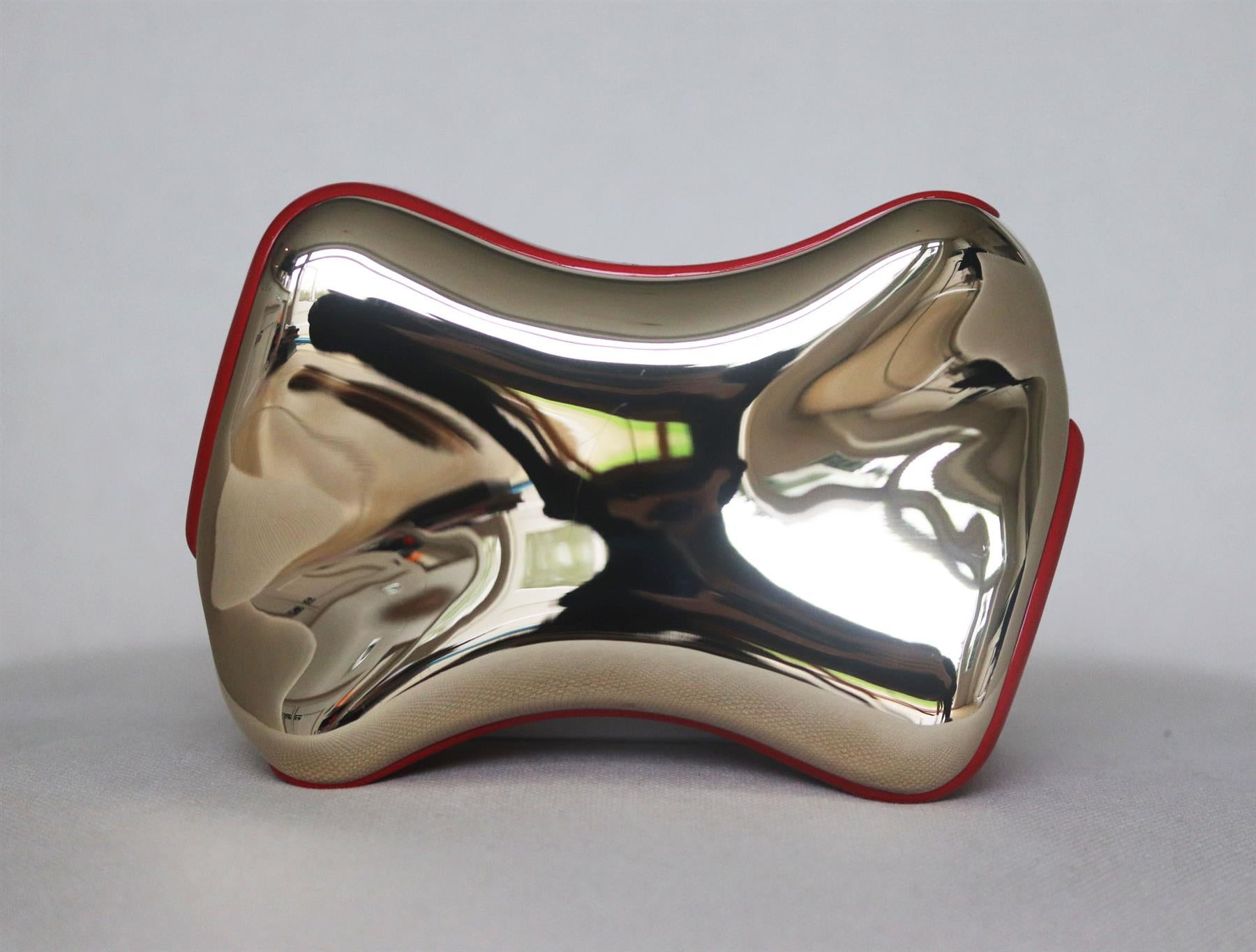 CHRISTIAN LOUBOUTIN SHOEPEAKS LACQUERED TRIMMED METAL CLUTCH