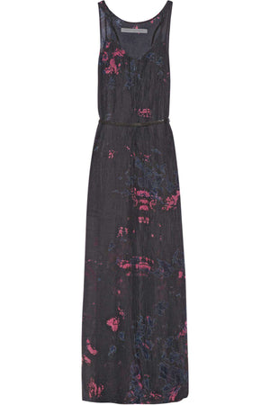 RAQUEL ALLEGRA PRINTED CRINKLED SILK CHIFFON MAXI DRESS UK 6