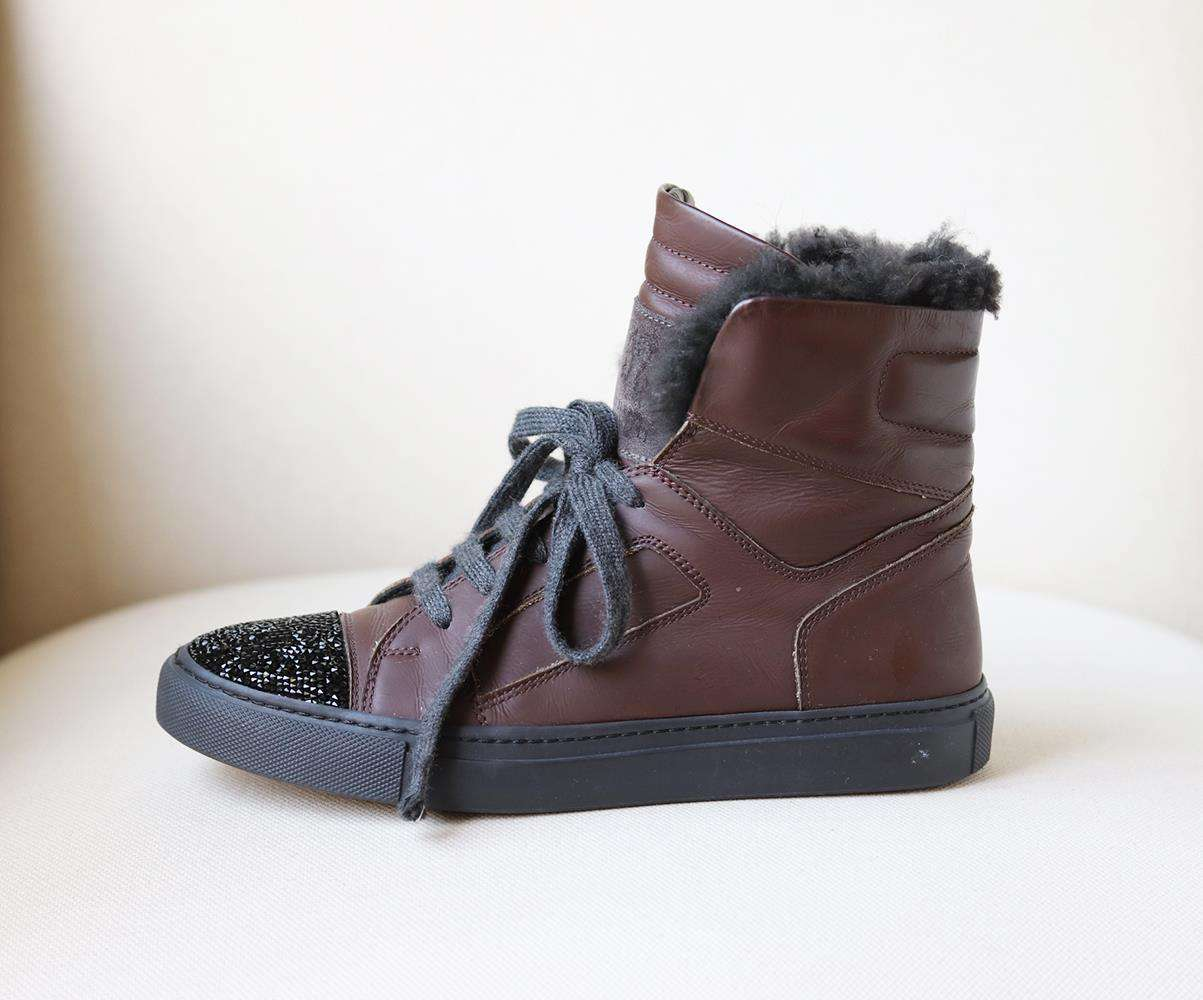 BRUNELLO CUCINELLI CRYSTAL AND SHEARLING TRIM LEATHER SNEAKERS EU 37 UK 4 US 7