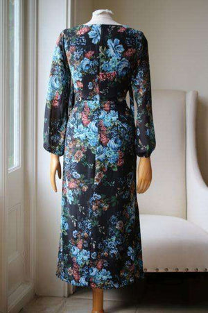 LPA THE LABEL DRESS 10 IN ANTIQUE FLORAL XSMALL