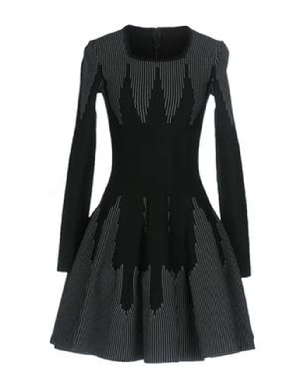AZZEDINE ALAÏA STRETCH KNIT WOOL FLARE MINI DRESS FR 42 UK 14