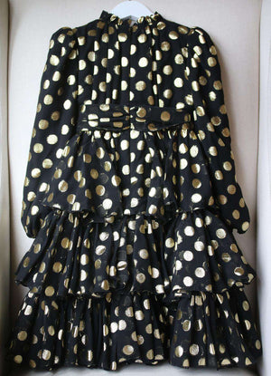 DOLCE AND GABBANA KIDS GIRLS TIERED POLKA DOT CHIFFON DRESS 5 YEARS