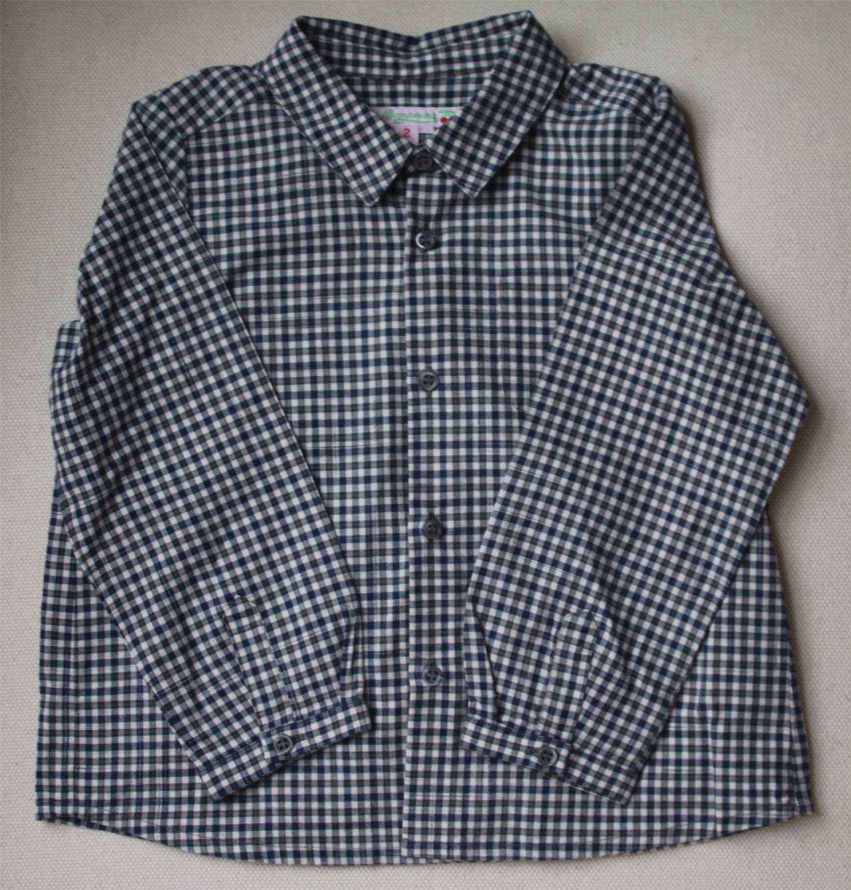 BONPOINT BABY NAVY BLUE CHECK SHIRT 2 YEARS