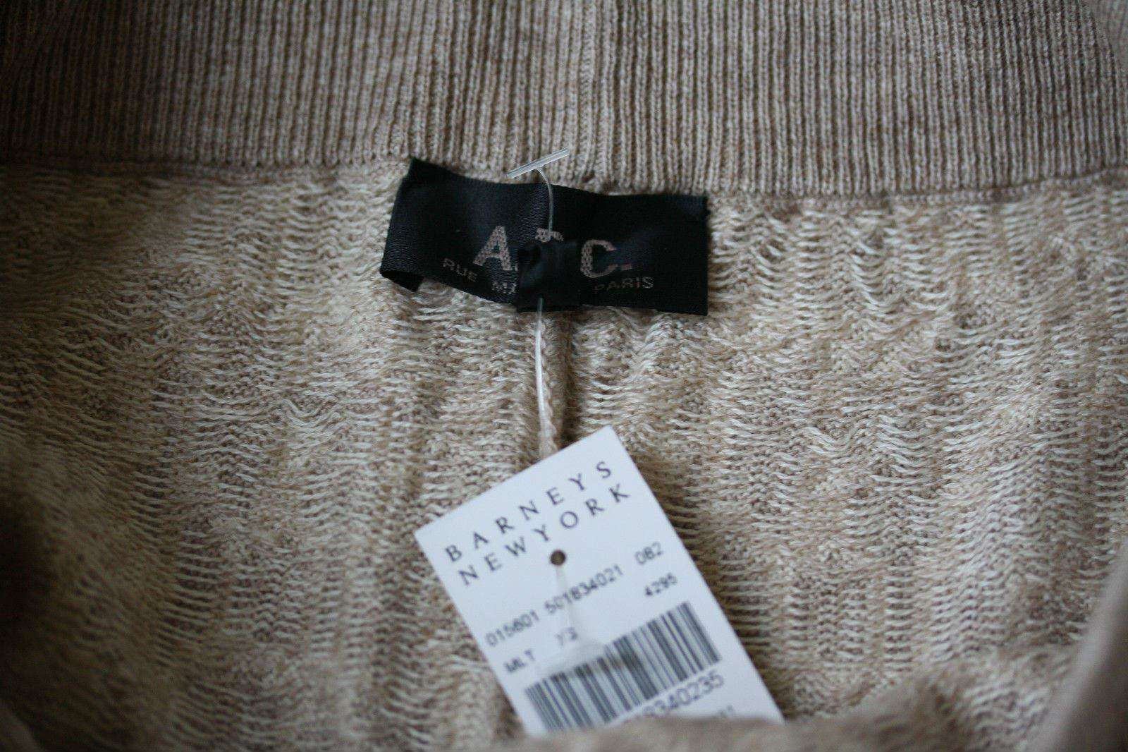 A.P.C. INTARSIA BEIGE KNIT SWEATPANTS LEGGINGS SMALL