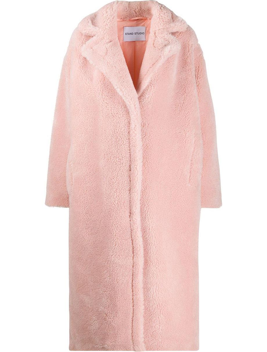STAND STUDIO MARIA COCOON OVERSIZED FAUX SHEARLING COAT FR 36 UK 8