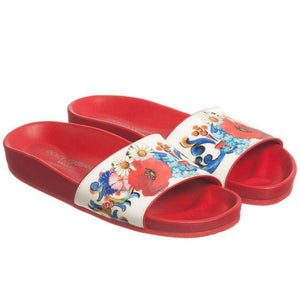 DOLCE & GABBANA GIRLS RED FLORAL SANDALS EU 27 UK 9