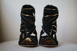 SERGIO ROSSI RAMAGE LEAF CUTOUT CAGED SANDALS EU 38.5 UK 5.5 US 8.5