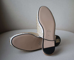 GUCCI PRINCETOWN STUDDED LEATHER SLIPPERS EU 39 UK 6 US 9
