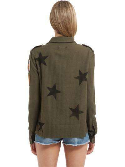 AMIRI EMBELLISHED STARS PRINTED MILITARY SHIRT SMALL