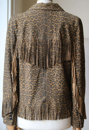 SAINT LAURENT CURTIS LEOPARD PRINT FRINGED SUEDE JACKET FR 38 UK 10