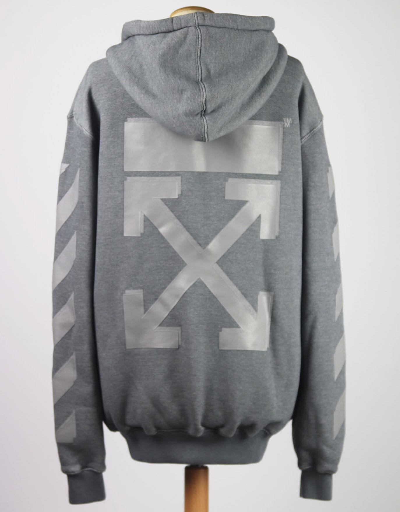 OFF-WHITE C/O VIRGIL ABLOH PRINTED COTTON JERSEY HOODIE SMALL