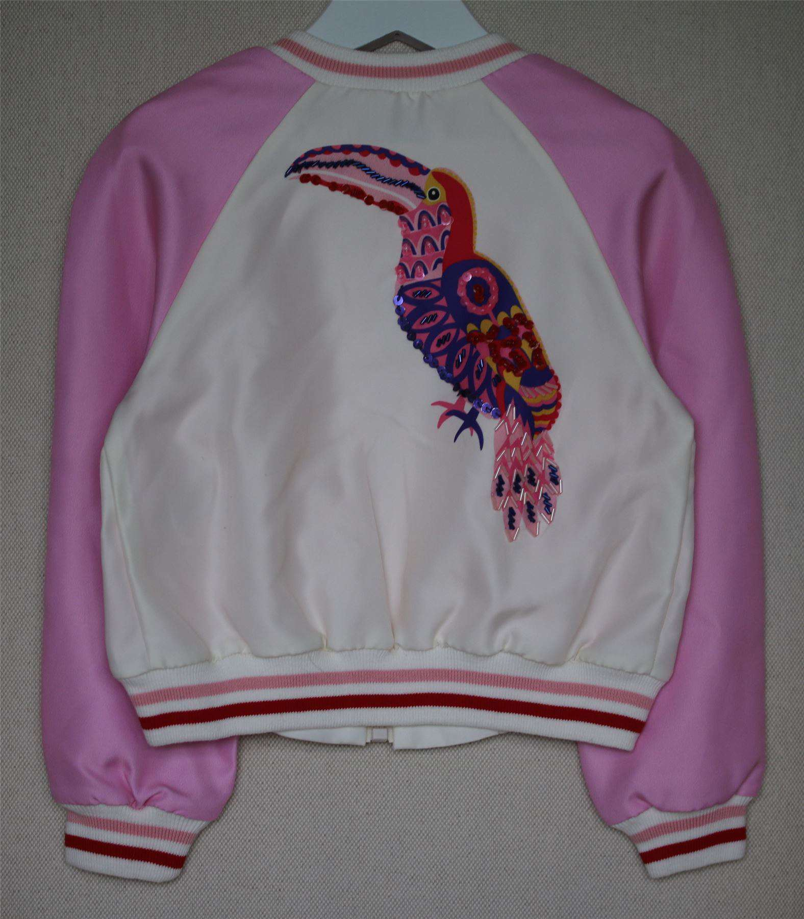 MSGM KIDS PINK EMBROIDERED & BEADED TOUCAN JACKET 4 YEARS