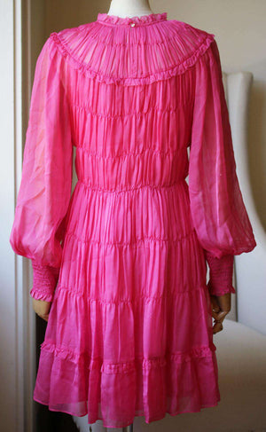 ULLA JOHNSON EMMELINE SILK HABOTAI SHIRRED MINI DRESS US 8 UK 12