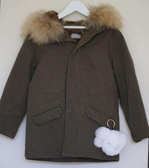 YVES SALOMON ENFANT KHAKI LINED COAT 6 YEARS