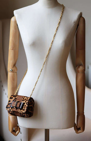 CHRISTIAN LOUBOUTIN SWEET CHARITY LEOPARD PRINT CALF HAIR SHOULDER BAG