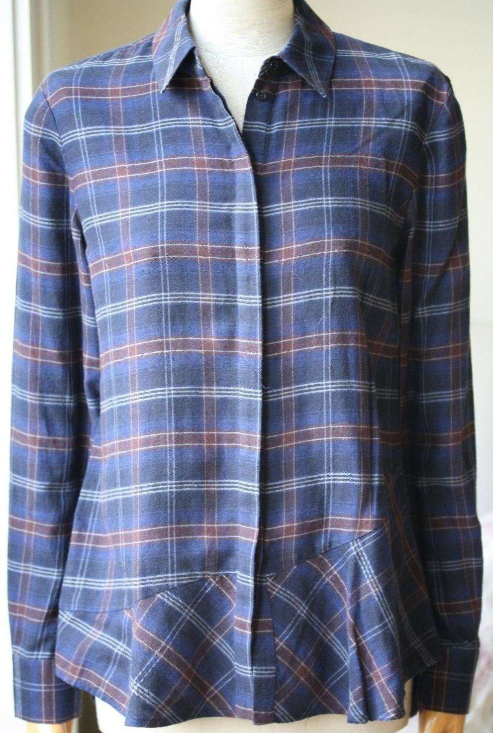 THAKOON ADDITION PLAID FLANNEL OPEN-BACK SHIRT US 2 UK 6