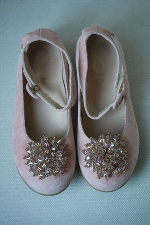 AQUAZZURA KIDS MONACO PINK EMBELLISHED FLATS EU 27 UK 9