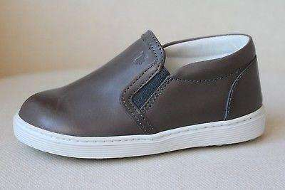TOD'S BABY PANTOFOLA SPORT CASS GREY LEATHER SNEAKERS EU 22 UK 5