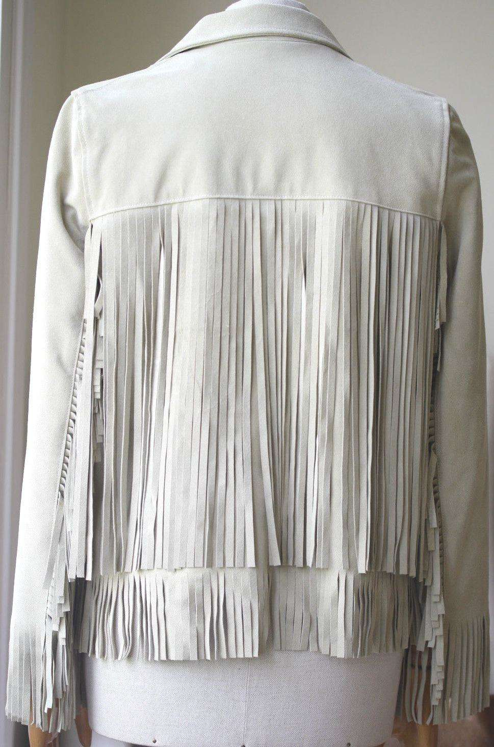THE PERFEXT BEIGE SUEDE FRINGE JACKET SMALL