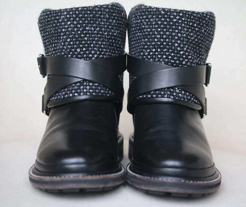CHANEL CALFSKIN AND TWEED-ACCENTED ANKLE BUCKLE BOOTS EU 37.5 UK 4.5 US 7.5