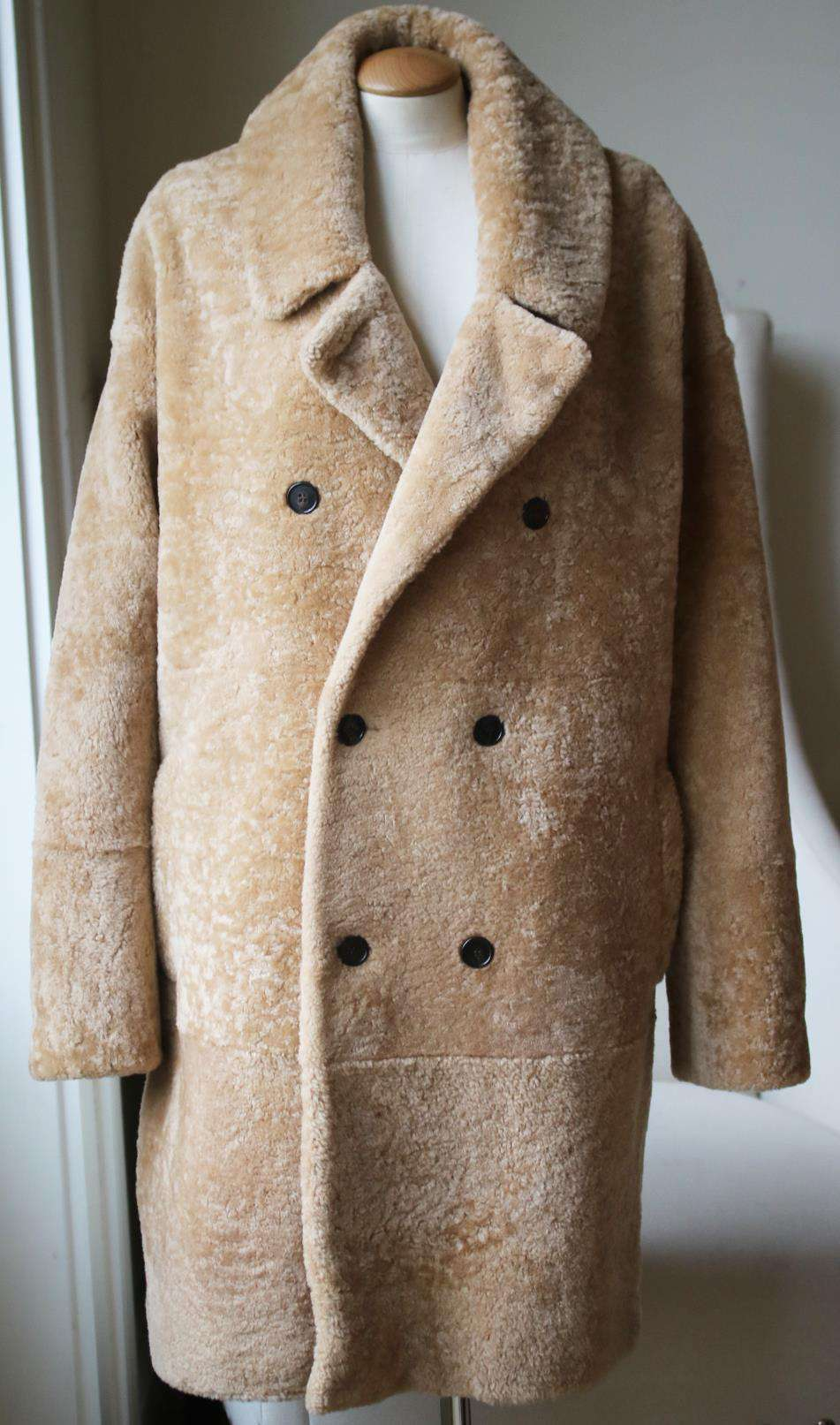 SAINT LAURENT DOUBLE BREASTED SHEARLING COAT FR 40 UK 12