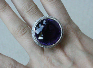 THEO FENNELL AMETHYST AND DIAMOND WHITE GOLD RING
