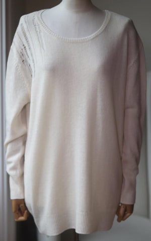 RAQUEL ALLEGRA DISTRESSED MERINO WOOL AND CASHMERE BLEND SWEATER UK 8