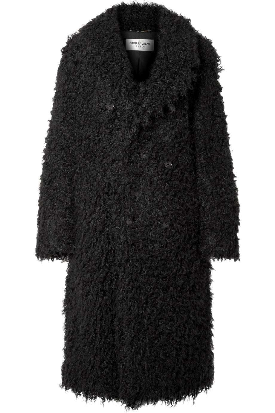 SAINT LAURENT OVERSIZED DOUBLE BREASTED FAUX SHEARLING COAT FR 42 UK 14