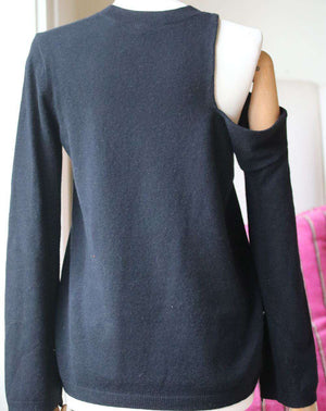 A.L.C. OPEN SHOULDER KNIT SWEATER XSMALL