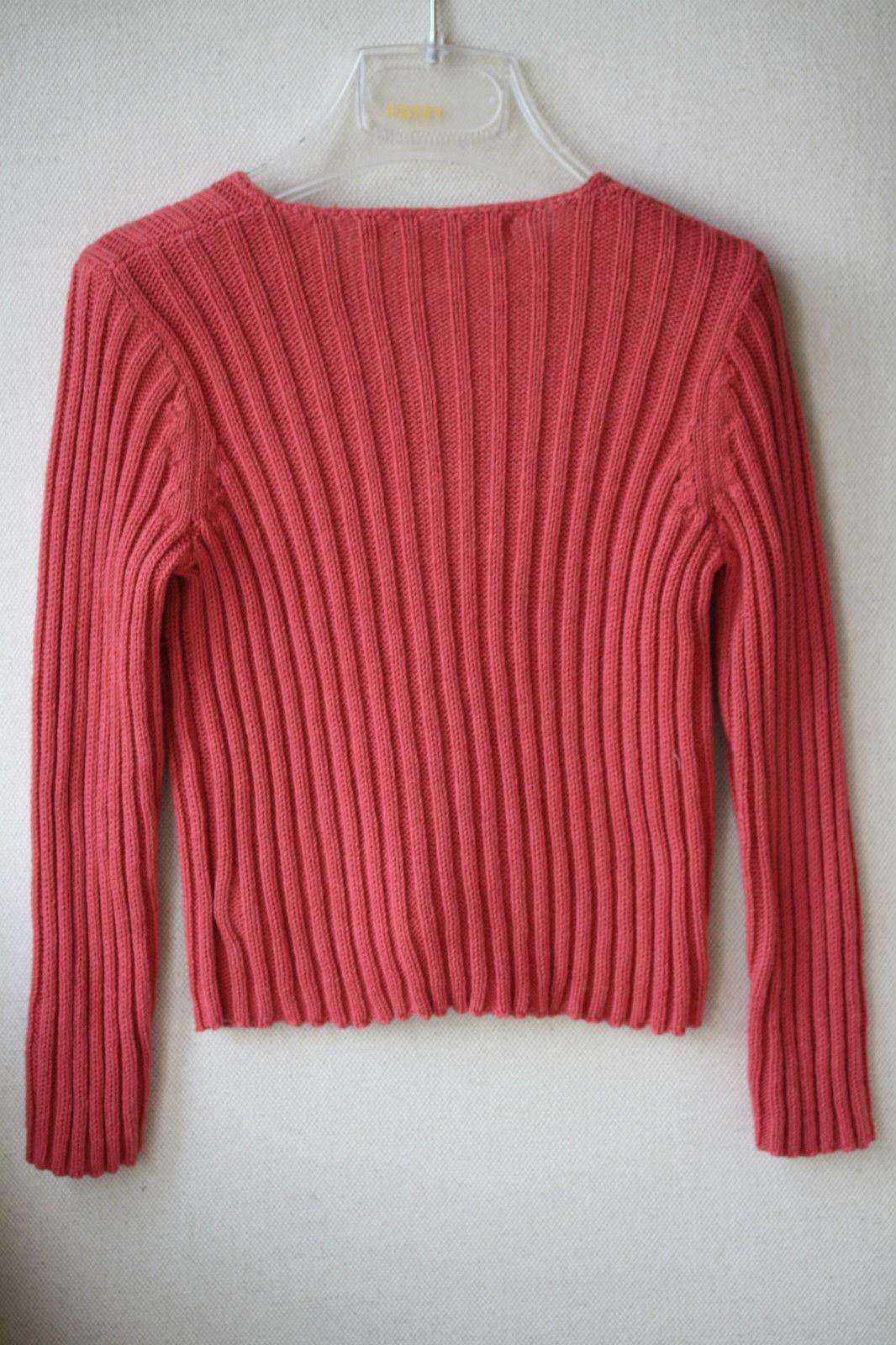 BONPOINT BABY DARK PINK COTTON RIBBED CARDIGAN 2 YEARS